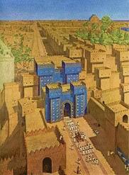 ΒΑΒΥΛΩΝΑ. Αναπαράσταση της Βαβυλώνας (με τους κρεμαστούς κήπους), που ο Αλέξανδρος την έκανε πρωτεύουσα του ασιατικού κράτους του.